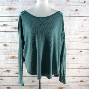 Lucky Brand Thermal Long Sleeve W/ Velour Shoulder